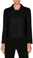 Agnona Patch-Pocket Button-Front Short Jacket, Black