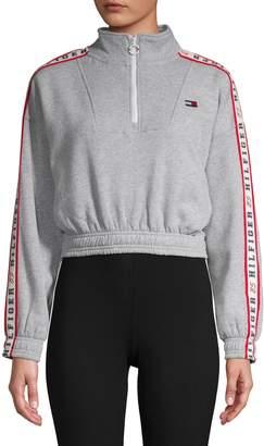 Tommy Hilfiger Logo Cotton-Blend Cropped Sweatshirt