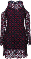 Self-Portrait floral grid cold-shoulder dress - women - Polyester - 6
