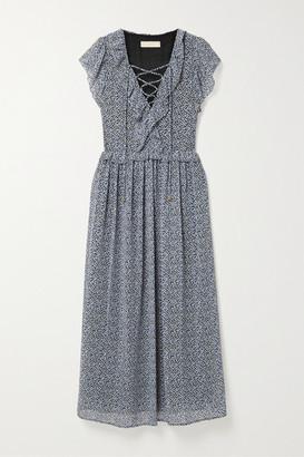 MICHAEL Michael Kors Lace-up Ruffled Floral-print Crepe Maxi Dress - Black