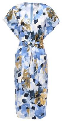 Lela Rose Belted Metallic Floral-print Cotton-blend Poplin Dress