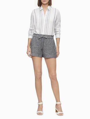 "Calvin Klein Linen Blend Tie Waist 4"" Shorts"
