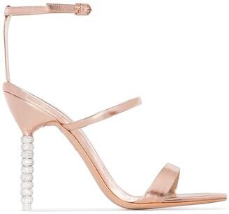 Sophia Webster rose gold Rosalind crystal embellished strappy leather sandals