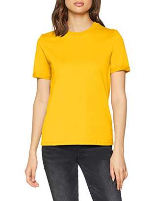 Pieces Women's Pcria Ss Fold Up Solid Tee Noos T-Shirt, Pink Malaga, 8 (Size: )