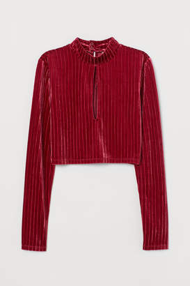 H&M Top with Stand-up Collar - Red