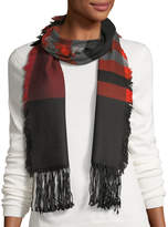 Neiman Marcus Wool Striped Fringe Scarf
