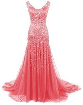 Dressystar V Neck Beaded Mermaid Wedding Prom Dress Evening Ball Gown
