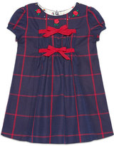 Gucci Cap-Sleeve Embroidered Check Shift Dress, Navy/Red, Size 6-36 Months