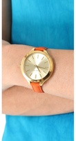 Michael Kors Leather Slim Runway Watch