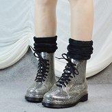 JIU Winter ladies transparent shiny rain boots Martin rain boots student rain boots