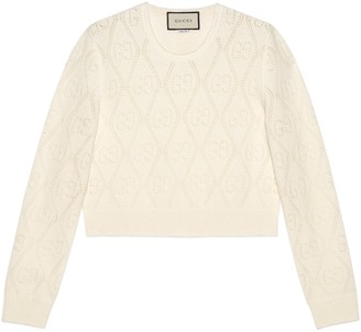 Gucci GG perforated wool crop jumper