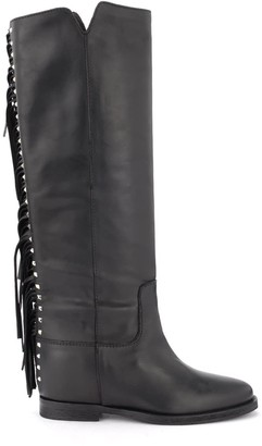 Via Roma 15 Boot In Black Leather With Fringe And Pyramidal Studs