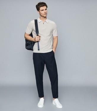 Reiss Wyatt - Towelling Zip Neck Polo in Grey