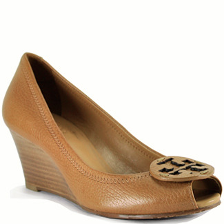 Tory Burch Sally 2 - Tan Leather Peep-Toe Wedge