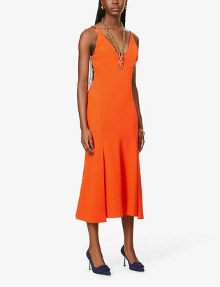 Victoria Beckham Plunging V-neck crepe midi dress