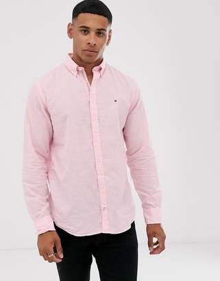 Tommy Hilfiger linen stripe long sleeve shirt-Pink
