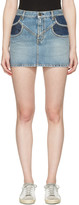 Saint Laurent Blue Denim Double Pocket Miniskirt