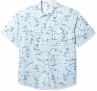 Izod Men's Big and Tall Short Sleeve Beach Button Down Printed Shirt