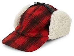 Crown Cap Men's Plaid & Shearling Fur Trapper Hat