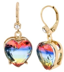 Betsey Johnson Rainbow Heart Stone Drop Earrings in Gold-tone Metal, 1.25""