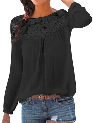 MERICAL Women Blouse Cotton Casual Long Sleeve Lace Patchwork Tops T Shirt