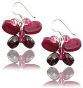 "Mary Grace Design MGD, Quartz Bead , Purple Garnet Color Bead and Swarovski Crystals Dangle Earrings, ""Butterfly Earrings"", Fashion Jewelry for Women, Teens and Girls , JA-0043"