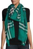 Burberry Lightweight Wool & Silk Check Scarf, Emerald