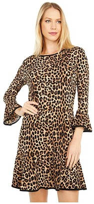 MICHAEL Michael Kors Cheetah Flounce Dress (Dark Camel) Women's Clothing