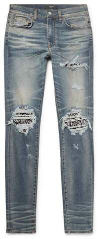 Amiri Skinny-Fit Crystal-Embellished Panelled Distressed Stretch-Denim Jeans