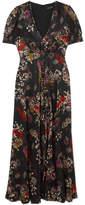 Saloni Lea Floral-print Silk-jacquard Maxi Dress - Black
