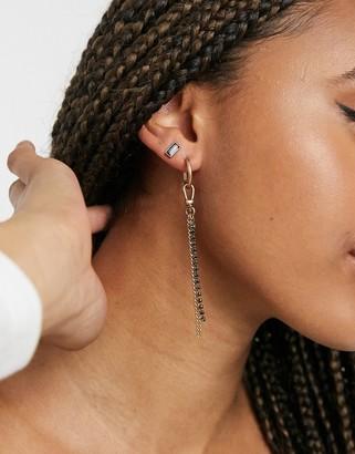 AllSaints hoop chain & stud mismatch earrings set