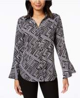 NY Collection Geometric-Print Bell-Sleeve Top