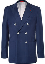 Isaia Blue Double-breasted Super 130s Basketweave Wool Blazer - Navy