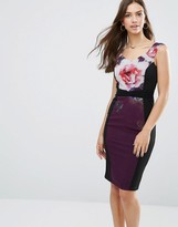Little Mistress Paneled Pencil Dress In Floral Print