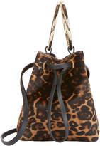 MAISON BOINET Haircalf Leopard Mini Bucket Crossbody Bag