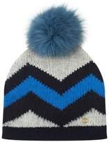 Bogner Striped Fox Fur Beanie Hat