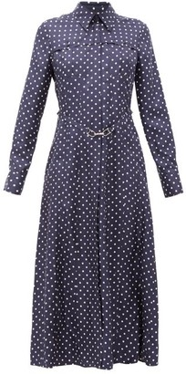 Gabriela Hearst Descartes Polka-dot Silk Shirt Dress - Navy White