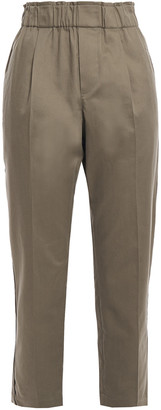 Brunello Cucinelli Bead-embellished Cotton-blend Twill Tapered Pants