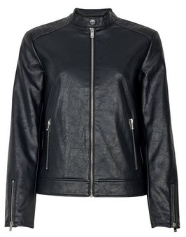 Dorothy Perkins Womens Black Faux Leather Collarless Jacket, Black