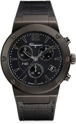 Salvatore Ferragamo Stainless Steel & Croc-Embossed Leather Strap Chronograph Watch
