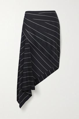 Monse Asymmetric Draped Striped Wool-twill Skirt - Midnight blue