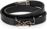 Saint Laurent Mens Black Round Iconic Double Wrap Leather Bracelet