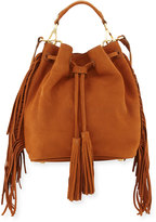 Brian Atwood Everly Drawstring Leather Saddle Bag with Fringe Trim, Brown