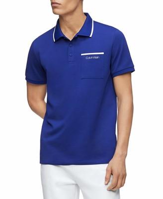 Calvin Klein Men's Move 365 Short Sleeve Quick Dry Moisture Wicking Logo Polo Shirt