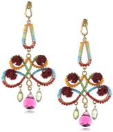Azaara 22k Yellow Gold-Dipped Pink Pompom, Crystal, and Peridot Drop Earrings