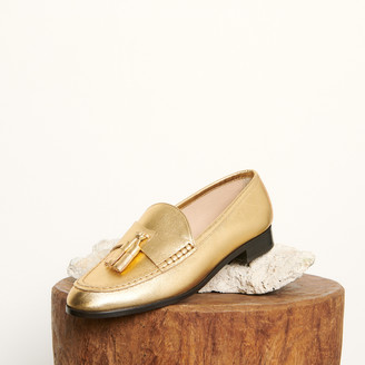 Sandro Metallic leather loafers