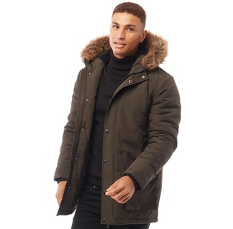 Fluid Mens Parka Jacket Dark Khaki