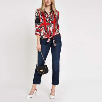 River Island Womens Dark Blue cropped flare jeans