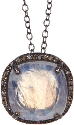 ADORNIA Moonstone Diamond Halo Lara Necklace - 0.70 ctw