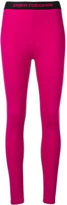 Paco Rabanne Logo Stripe Yoga Pants